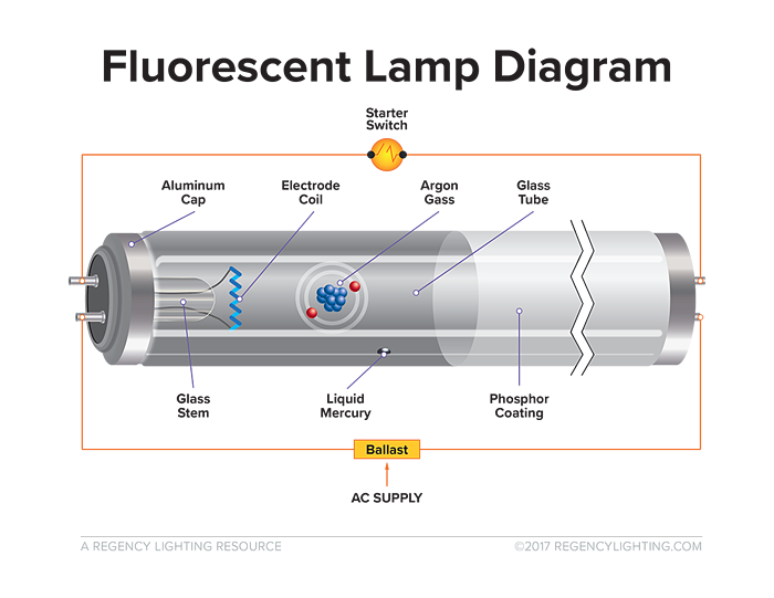 What is fluorescent lighting? A diagram of how a fluorescent light works.