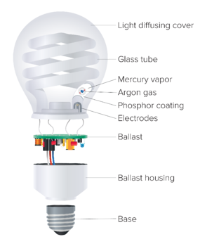 Regency Lighting –What are CFL bulbs and where should they be used? Diagram of CFL bulb