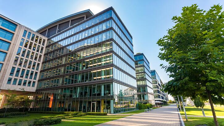 supporting image of office building for when to consider an extended led lighting warranty article